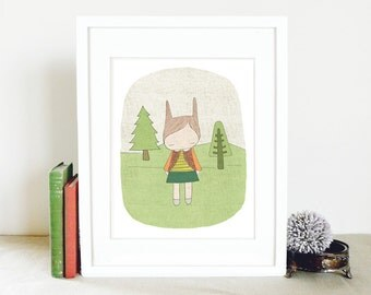 Children Wall Art Print 8x10 Spring - Flissy the hippie bunny rabbit in the forest