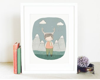 """Baby Boy Art - Deer Boy - Mountains and Raindrops and Clouds Illustration  8x10"""" Art Print"""