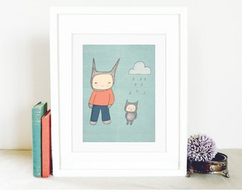 "Modern Boys Room Art - Mr Rabbit and Fred -  A4 Illustration Print - 8.2x11.6"" (21x29.7mm) (15x19 h cm)"