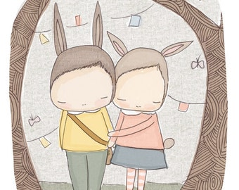 Forest Animal Art- Bunny Rabbits in The Wood- Henry and Harriet Best of Friends