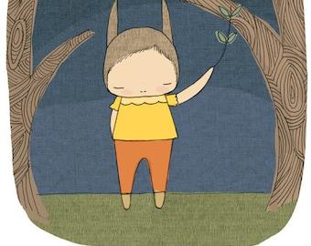 Kid Art Nursery - Millicent The Bunny Rabbit in The Woods at Night - Indigo