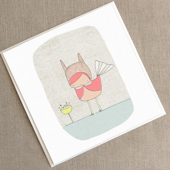 "Square Greeting Card - Pink Bunny Bird -  5.9 x 5.9 "" or 150x150 mm"