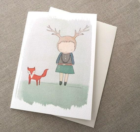 "Greeting Card -Deer Girl and Fox -  C6 greeting card 11w x 15.5 h cm (4.4x6.1"")."