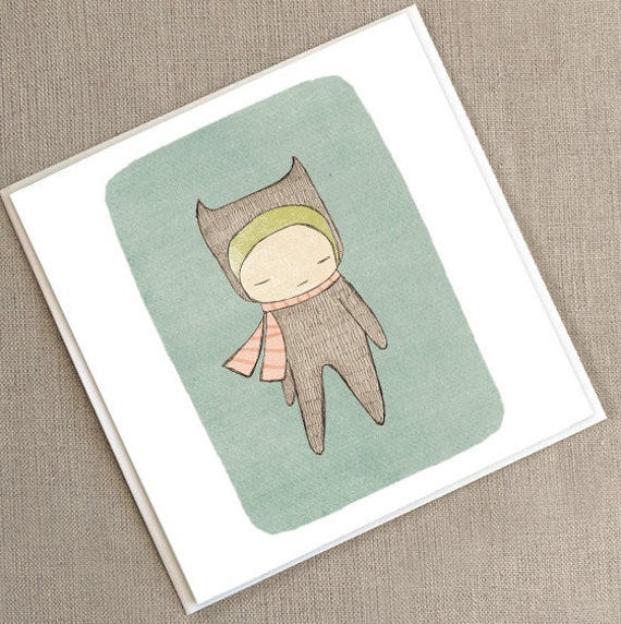 "Greeting Card -Bear Girl  -  5.9 x 5.9 "" or 150x150 mm"