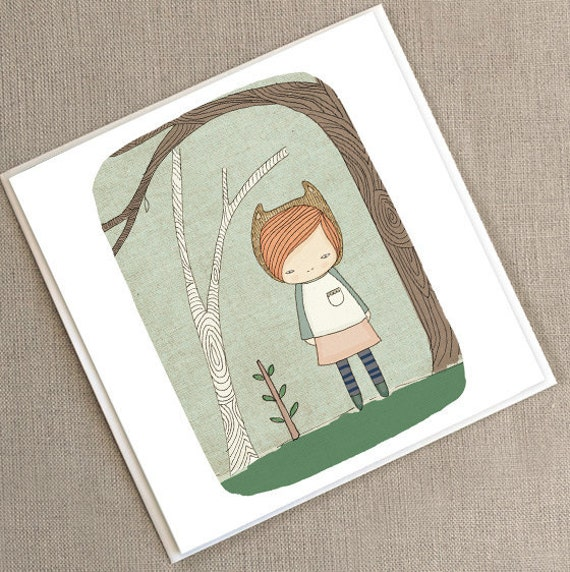"Greeting Card -Lively in the Woods  -  5.9 x 5.9 "" or 150x150 mm"