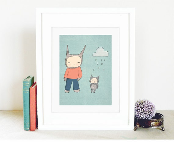 "Modern Boys Room Art - Mr Rabbit and Fred -  A4 Illustration Print - 8.2x11.6"" (21x29.7mm) (15x19 h cm)"