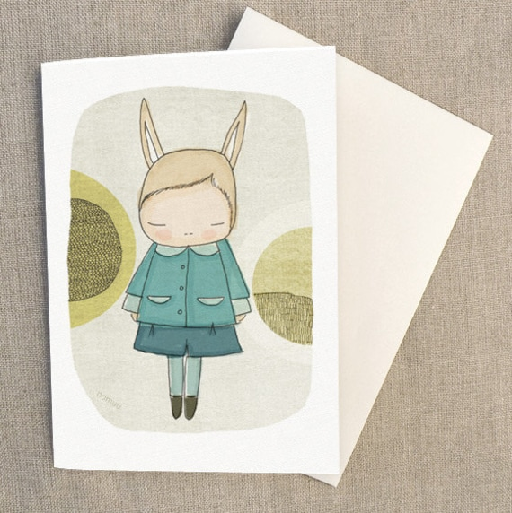 "Easter Bunny Rabbit Greeting Card - Bunny Girl With Blue Pea Coat -  C6 greeting card 11w x 15.5 h cm (4.4x6.1"")."