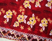 RESERVED for MariaG Lava Red Tiki Vintage Fabric Aloha Cotton Hawaiian Double Border 40s 50s