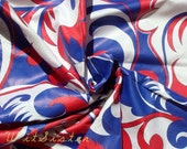 60s Vintage Fabric Cotton Sateen HOT MOD Red White & Blue Patriotic