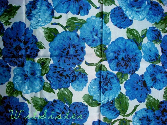 Blue-tiful Blossoms Floral 50s 60s Vintage Satin Fabric
