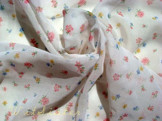 Sweet Tiny Blooms on Sheer Vintage Cotton Gauze Fabric