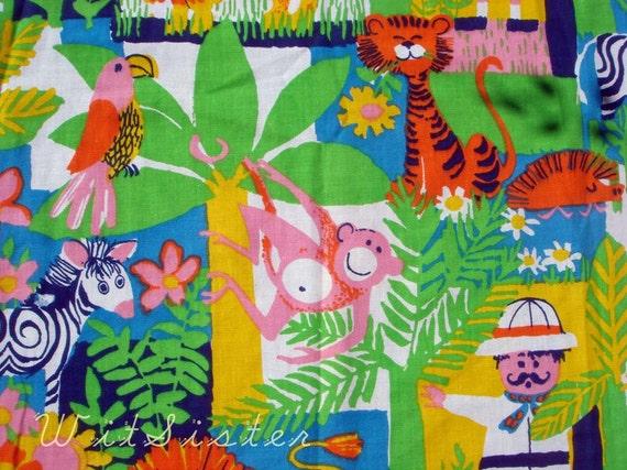 Brilliant  Kids Vintage Animal Curtain Fabric FUN Jungle SafarI Monkey Zebra Lion