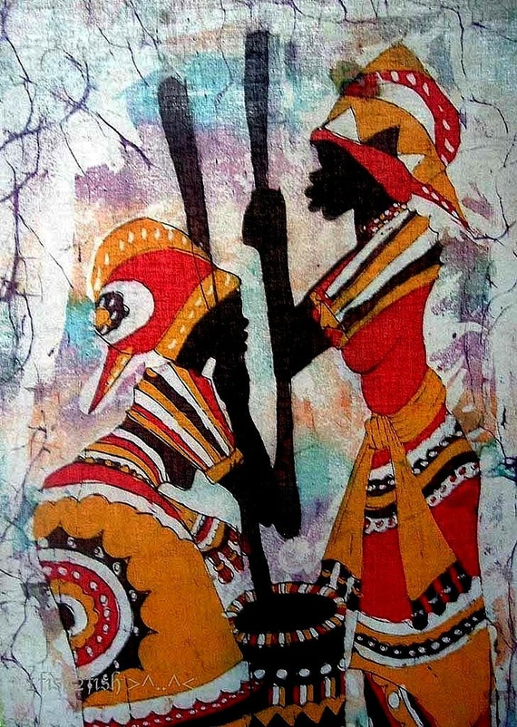African art vintage batik painting women prepare food for Art and appetite american painting culture and cuisine
