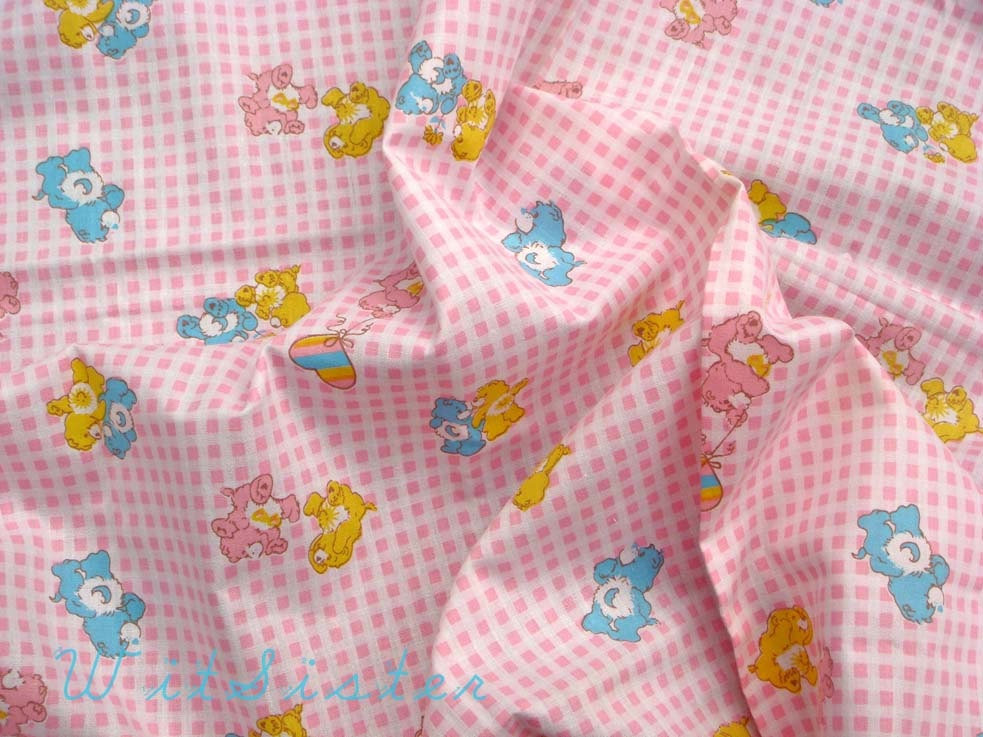 Pink gingham care bear baby animal 80s vintage fabric 1yd cute for Cute baby fabric
