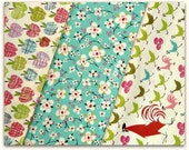 Alexander Henry Farmdale Multi Roosters Tint Pink Fabric 3 Pieces FQ Set LAST