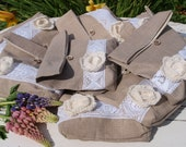 RESERVED for Whitney yost  Set of 8 Natural Linen Pouches with Linen Flower