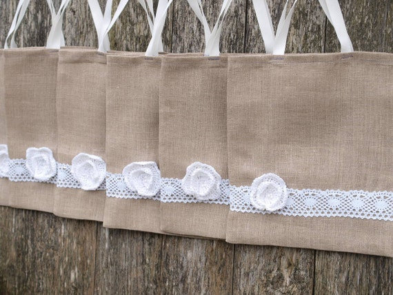 Set of 6 Small Linen Totes,Gift Bags with crocheted flower