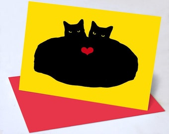 Heart Cats Valentine Greeting Cards