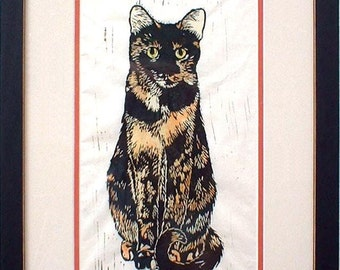 The Tortie Cats Set, The Roundest Eyes Hand-Colored Linocut