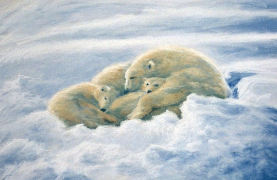 Asleep in the Snow, Polar Bear Family, Giclee