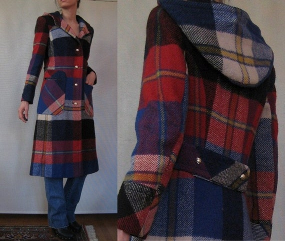 Vtg '70s AMAZING Utex Cherry & Blueberry Wool Hooded Coat w/ Faux Belt and Brass Hardware XS S S/M