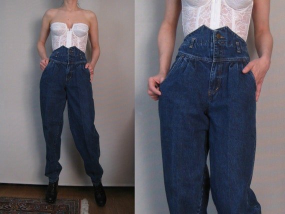 R E S E R V E D Vintage 80s European Dark Blue Super HIGH WAISTED Pleated Tapered Jeans xs Small