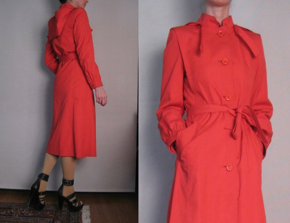 R E S E R V E D Vintage 80s CHERRY Red UTEX Romania Detachable Hood Hooded Trench Coat Small