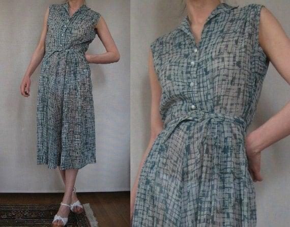 Vtg '40s Sofie Wagner Deep Sea Green CROSS Hatch Plaid SHEER Belted Dress XS S S/M As Is