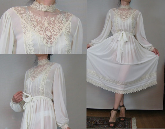 Vintage 70s Off White Ecru Chiffon Cotton CROCHET LACE & EMBROIDERED Inset Sheer Puff Sleeve Victorian Wedding Dress Small s/m