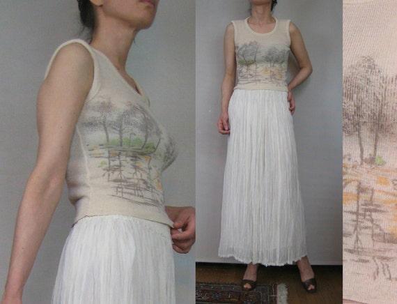 Vintage 50s TREES LAKE & SUNSET Ecru Wool Novelty Sleeveless Knit Vest Top Tank xs Small s/m