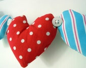 Red Polka Dot and Blue Striped Heart Garland Decoration