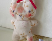 Cute Dinky Bunny Decoration Made From Vintage Fabric