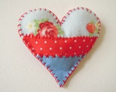 Heart Brooch Fabric Applique Pin Pretty Floral and Polka Dots Red and Blue