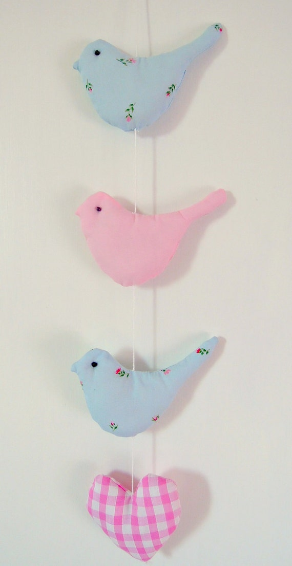 Sweet Shabby Chic Bird and Heart Mobile  Pink and Blue