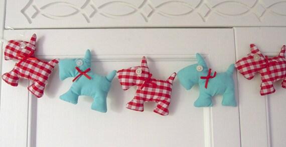 Scottie Dog Garland Red Gingham and Aqua/Turquoise Nursery Decor