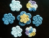 8 Crocheted  Flower Embelishments in Blue, Yellow, White, and Purple