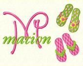 Flip Flops Monogram Font Machine Embroidery Designs