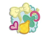 Soother and Bib Applique Machine Embroidery Design