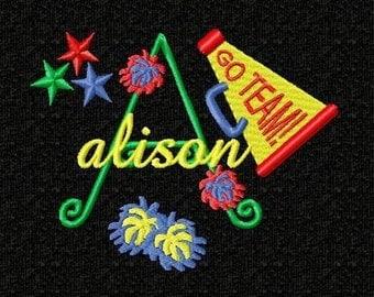 Cheerleader Monogram Font Machine Embroidery Designs