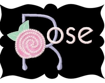 Rose Monogram Font Machine Embroidery Designs