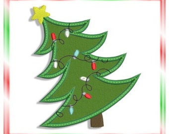 Whimsical Christmas Tree Applique Machine Embroidery Design