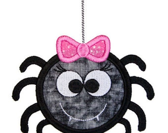 Cute Girly Spider Applique Machine Embroidery Design - 3 Sizes