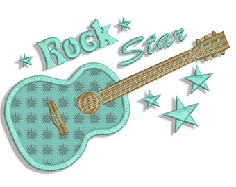 Rock Star Applique Machine Embroidery Design