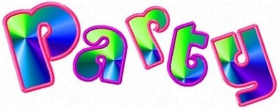 Party Time Applique Machine Embroidery Designs BONUS  2 SIZES included