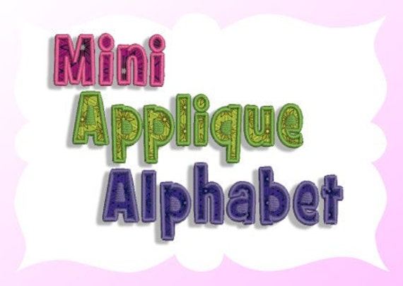 mini applique alphabet machine embroidery design
