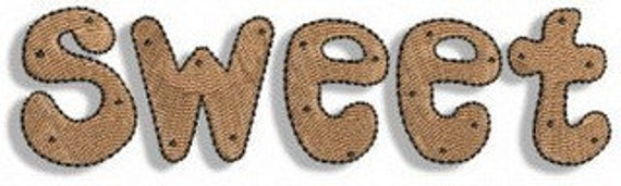 "Sweet Gingerbread ""Sweet"" Machine Embroidery Design- 4x4 & 5x7"