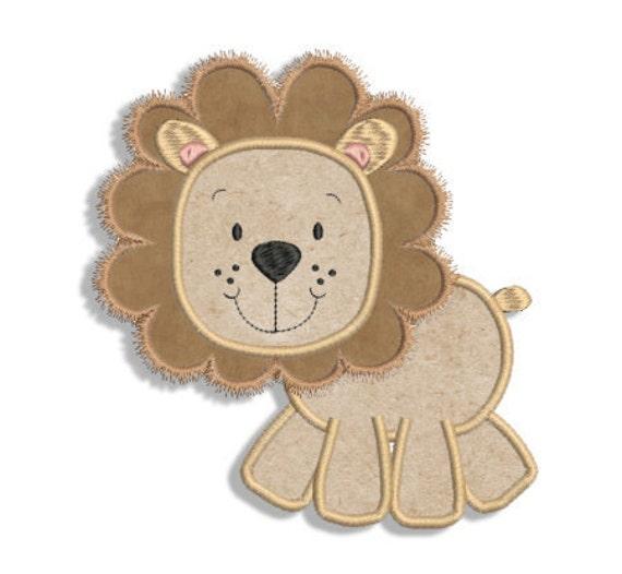 Lion Applique Machine Embroidery Design 3 Sizes