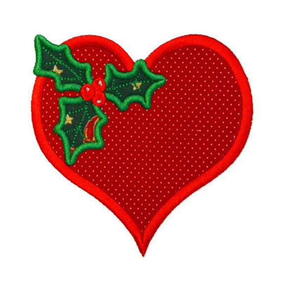 Christmas Heart with Holly Applique by FancyFontsEmbroidery