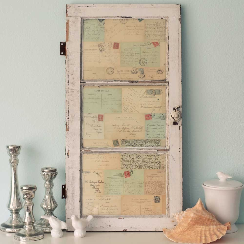 Antique window of french postcards decor wall art for Antiques decoration