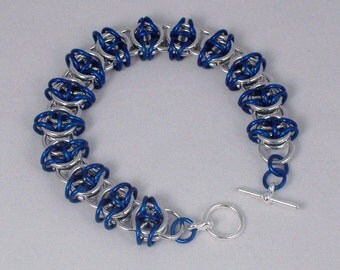CLEARANCE, Blue Celtic Visions Chain Mail Bracelet, Chainmaille Jewelry